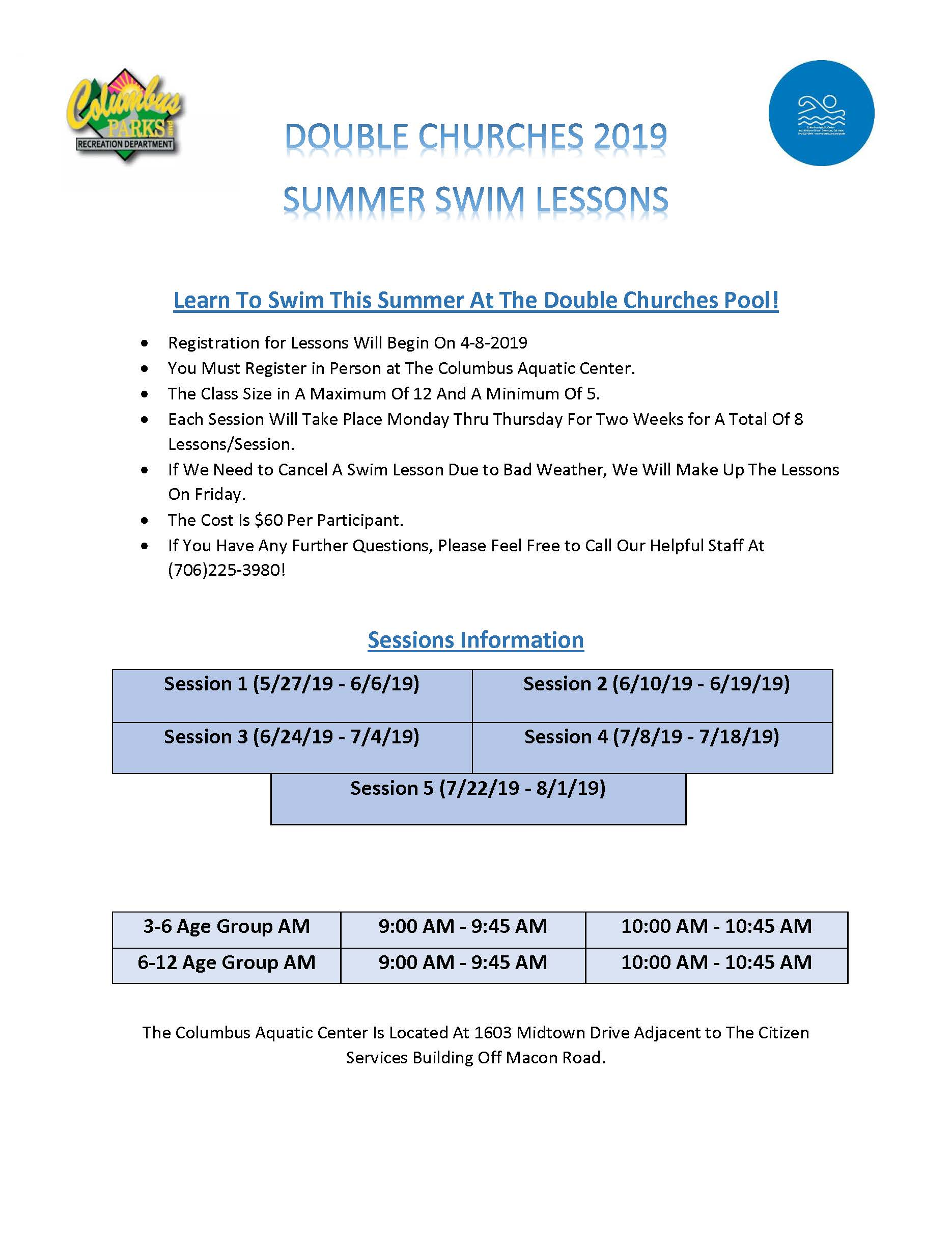 SUMMER 2019 SWIM LESSONS DOUBLE CHURCHES