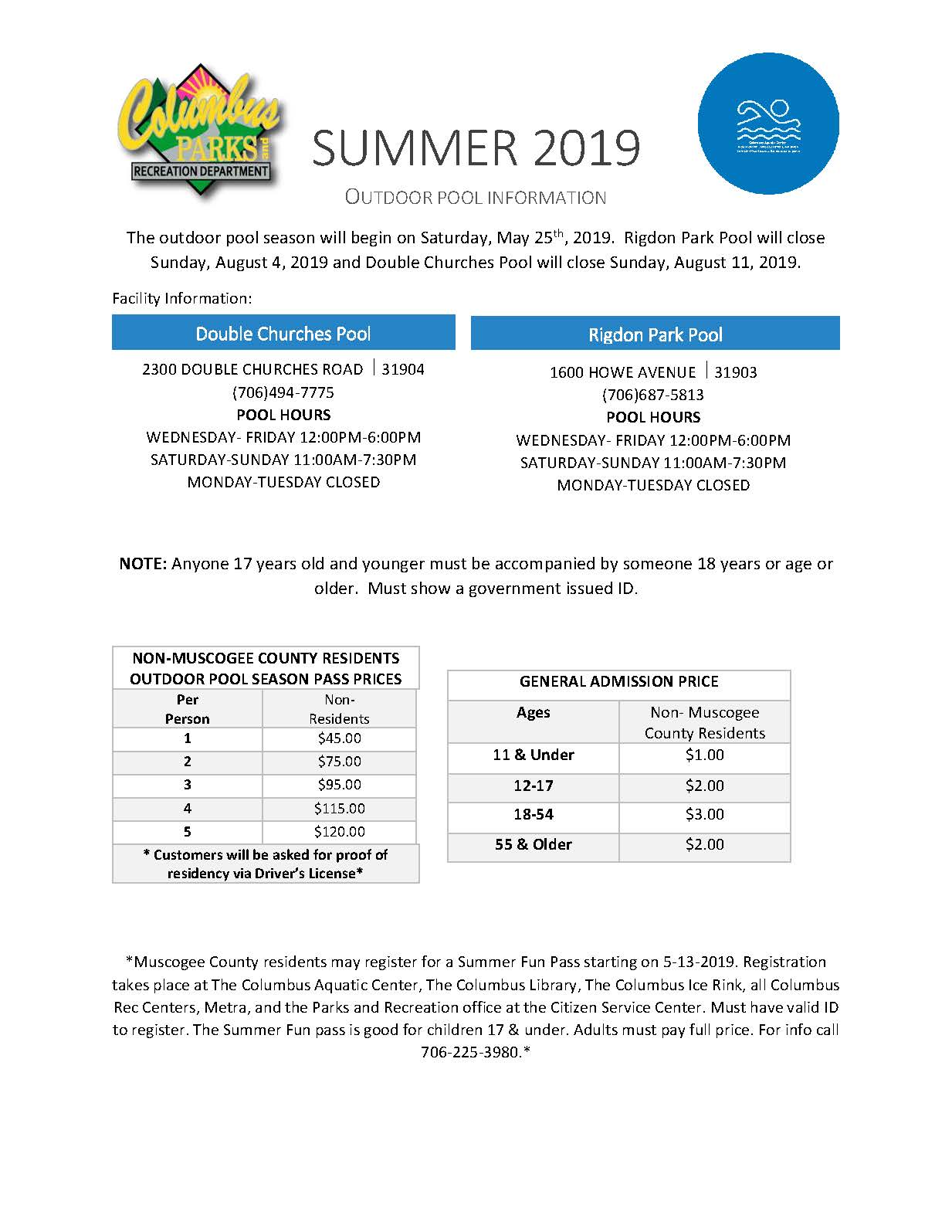 Summer 2019 Outdoor Pool Info636922337520458835